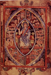 Christ Enthroned Among the Choirs of Heaven, in the' Aethelstan Psalter'